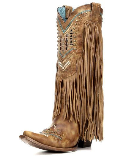 Corral C2910 Tan Multi Color Crystal Pattern and Fringe Boot - Saratoga Saddlery