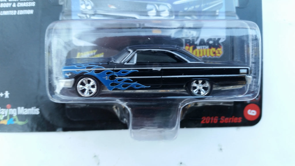 Johnny Lightning Street Freaks 2016, Release 1B, 1963 Ford Galaxie 500, Black with Flames