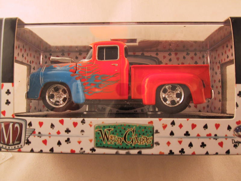 M2 Machines Wild Card Ground Pounders, Release 01, 1956 Ford F-100, Orange/Blue