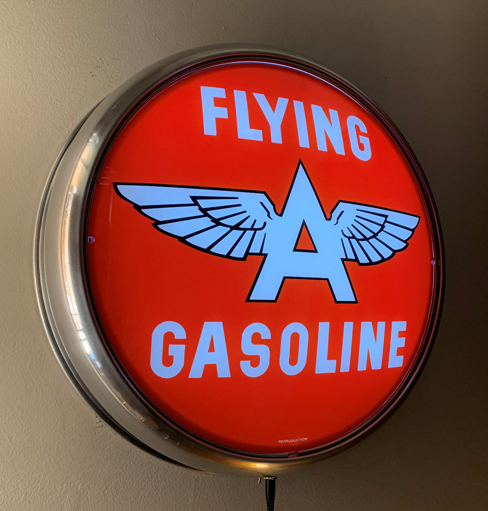 LED Wall Mount - Flying A Gasoline (Red Background)