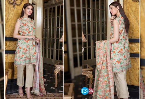 ES 26 - Exclusive  Collection Vol 2 - 3 PIECE SUIT 2019-Three Piece Suit-SAFWA -SAFWA Brand Pakistan online shopping for Designer Dresses-SAFWA DRESS DESIGN, DRESSES, PAKISTANI DRESSES