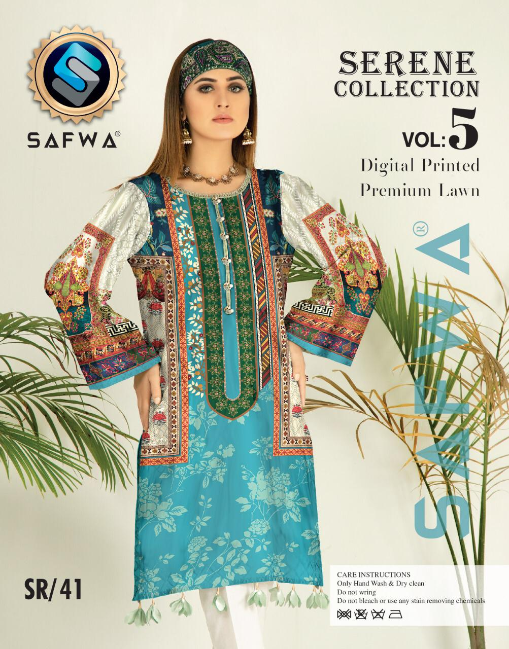 SP-41-SAFWA PREMIUM LAWN-SERENE PLUS COLLECTION-DIGITAL 2 PIECE - Safwa-Pakistani Dresses-Dresses-Kurti-Shop Online