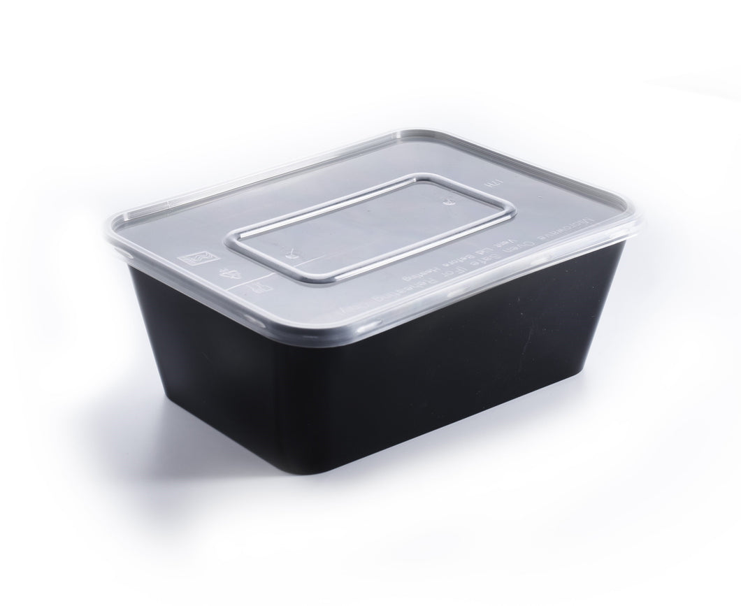 200 Pieces - Rectangle Meal Prep Containers black 1000ml