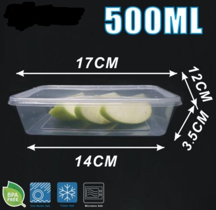 500 x Rectangle Meal Prep Food Storage Containers 500ml - Clear