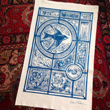 Stained glass House Martin in blue, organic cotton tea towel