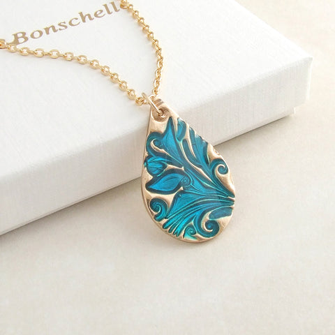 handmade bronze and blue cold enamel teardrop pendant necklace 1