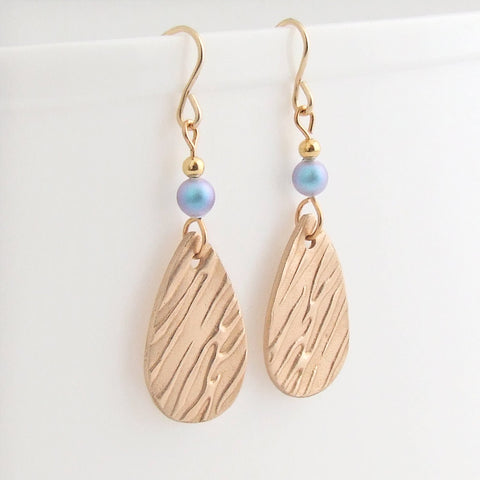 Handmade bronze and blue swarovski pearl drop earrings 1