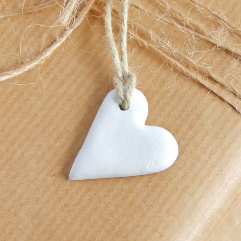 Handmade white clay mini heart gift tags or favors by Bonschelle