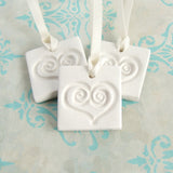3 square white clay gift tag ornament favors with heart imprint and satin ribbon
