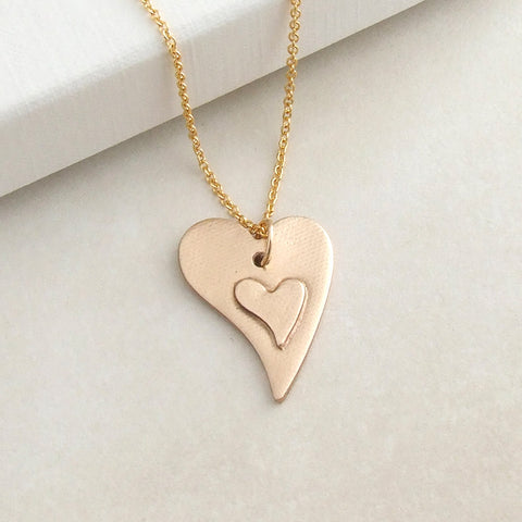 handmade gold bronze layered heart pendant necklace for women 1