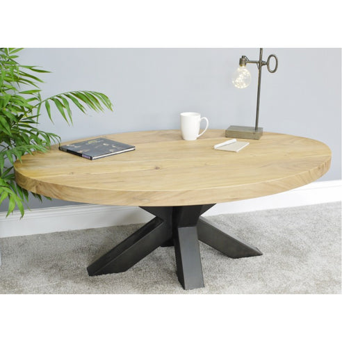 Retro Industrial Metal/Wood Spider Leg Oval Coffee table (120 x 80 x 45cm)