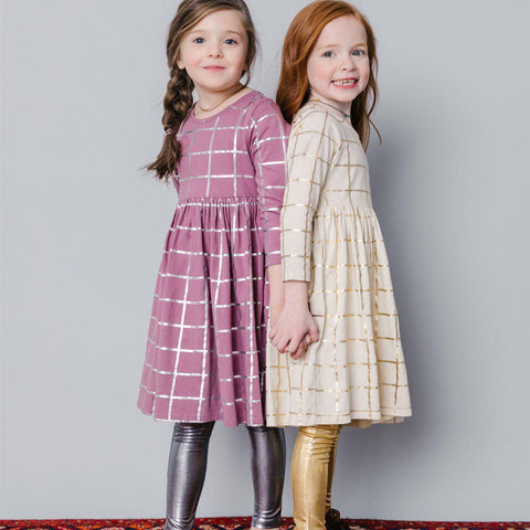 Pink Chicken Steph Dress 2y very grape w/silver tattersall - 18fpc220a