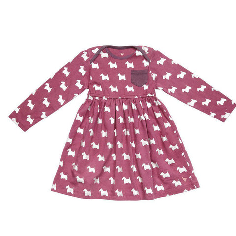 Pink Chicken Mich Dress 3/6m boysenberry scottish terrier - 17fpcn830a