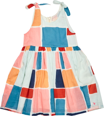 Pink Chicken Taylor Dress 2y multi paint square - 19SSPC254A