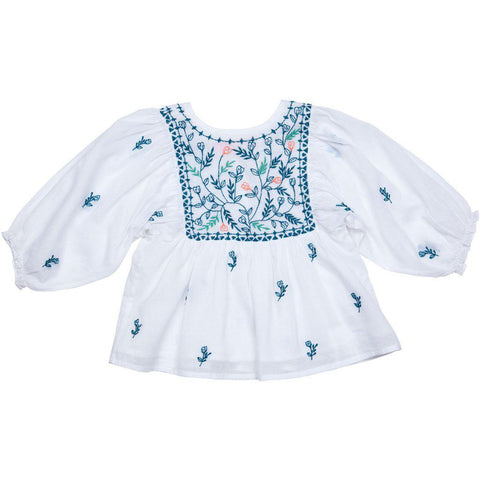 Ava Bella 2 Piece Set with white cotton voile and embroidered florals. Back view.