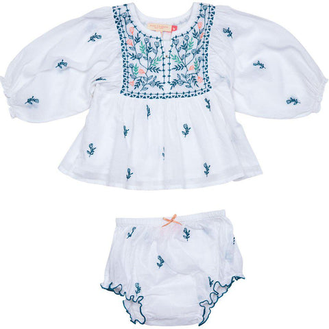 Ava Bella 2 Piece Set with white cotton voile and embroidered florals. Front view.