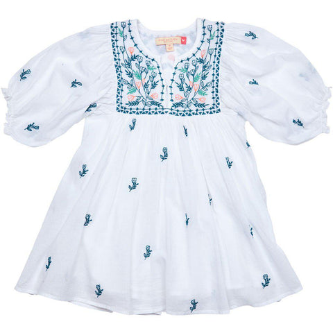 White Ava Bella Dress with blue and pink floral embroidery. Front view.