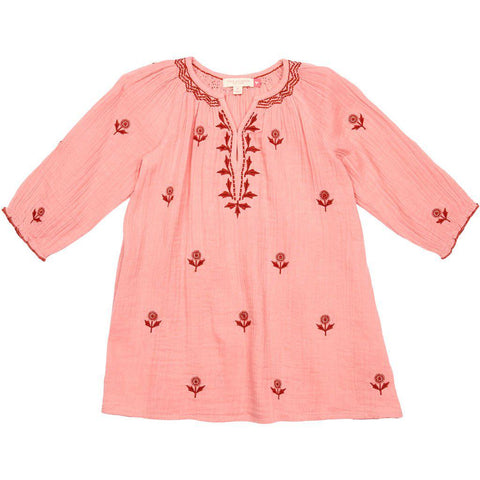 Pink Chicken Ava Dress 2y peach blossom w/embroidery - 19spc136b