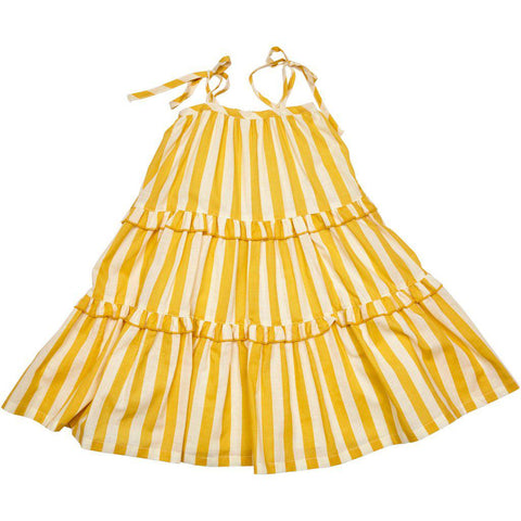 Garden Dress in yolk yellow and white stripe.