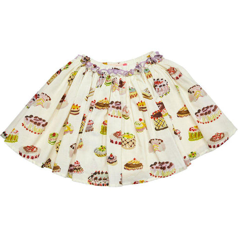 Gianna skirt with antique white multi desserts print.
