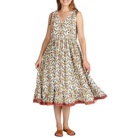 Women's Laurel Dress in multi-marigold floral print.