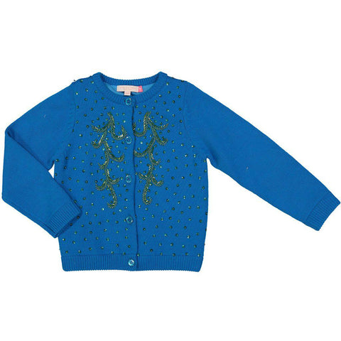 Pink Chicken Maude Beaded Sweater 2y electric blue - 18ffpc635b