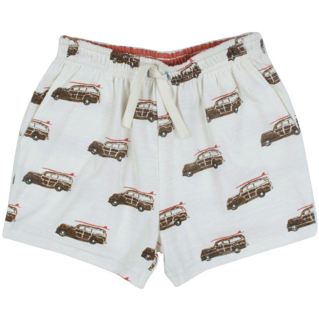 Pink Chicken Sam Short 2y antique white car - 19sbr122c