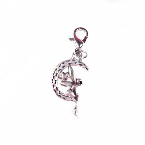 Fairy sitting on a moon silver charm