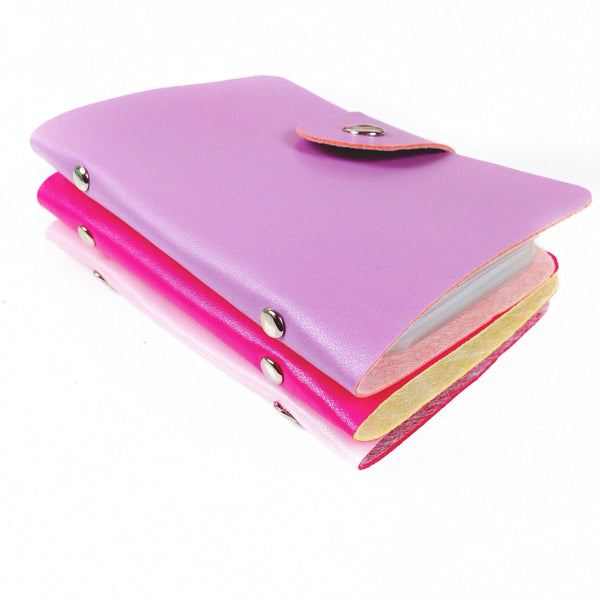 Lavender, Hot Pink, and Light Pink washi wallets stacked on top of each other