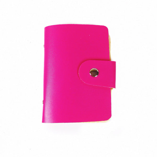 Hot pink washi tape wallet with silver button snap