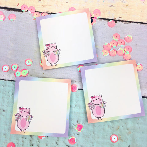 Kitty Cotton Holding Stickers Sticky Notes