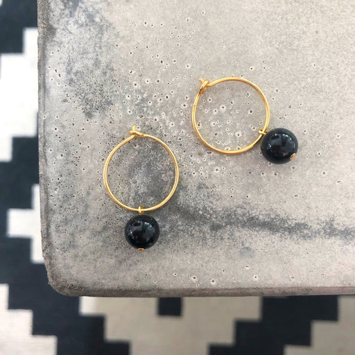 ELLIE BLACK GOLDEN CREOL EARRING