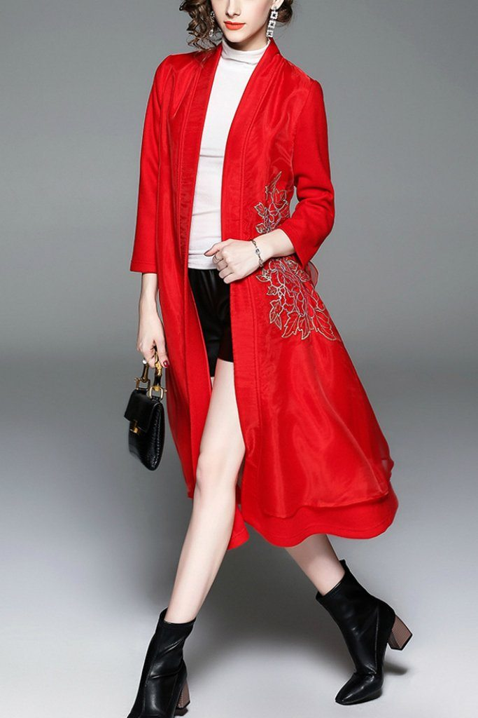 Wool Day Open Front Sleeve Pea Floral Coat - Coats