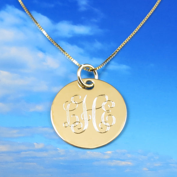 Monogrammed 14k Solid Gold Necklace Pendant