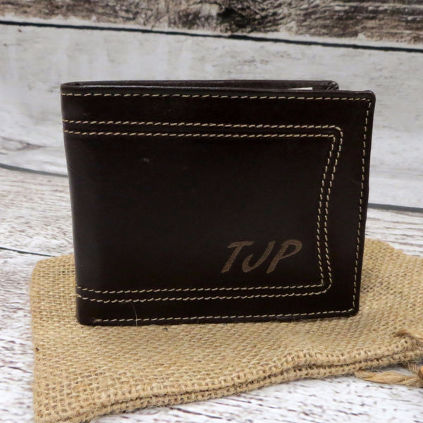 Brown Leather Wallet Monogrammed