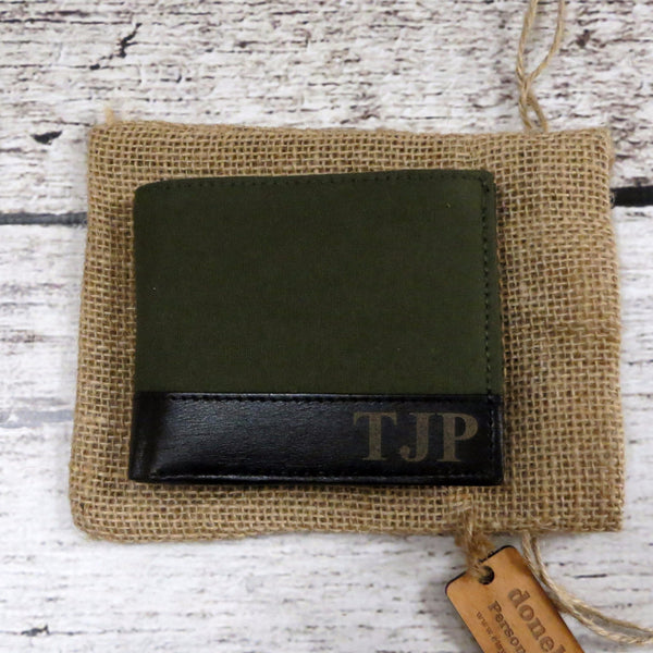 Personalized Green Canvas & Leather Wallet