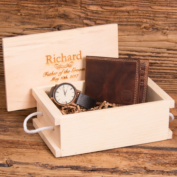 Gift Set for Men with a Monogrammed Wallet and Personalized Wood Watch
