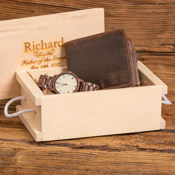 Monogram Wallet & Personalized Wood Watch Gift Set