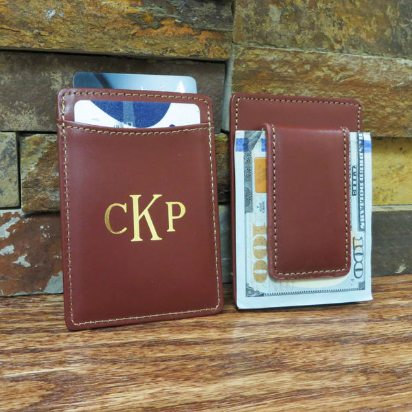 Monogrammed Leather Wallet w/ Money Clip