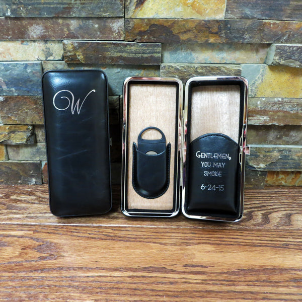 Black Personalized Folding Cigar Case