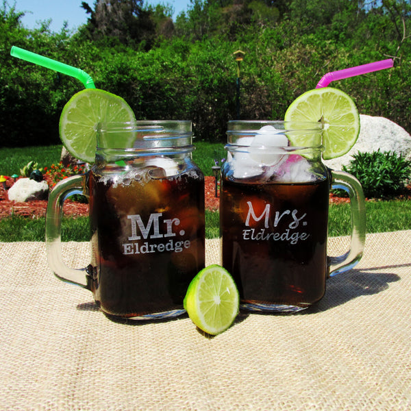Mr & Mrs Personalized Wedding Mason Jars