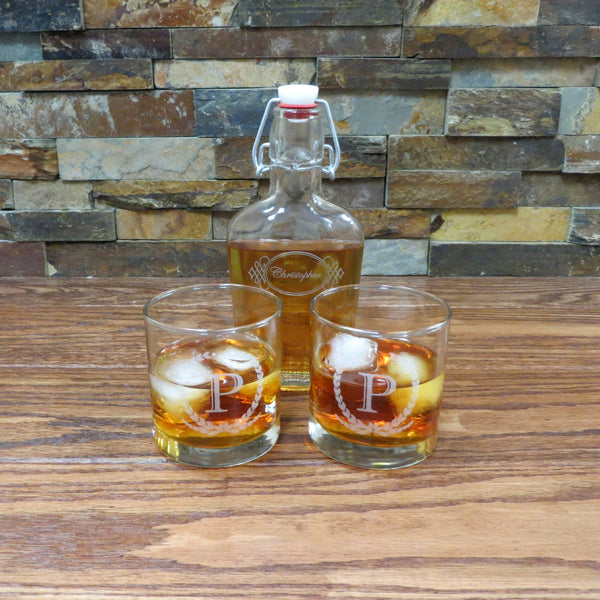 Personalized Whiskey Glass Tumblers with Flask