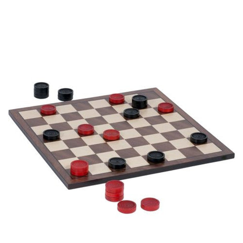 Nostalgic Red and Black Wooden Checkers Set