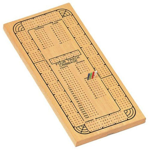 Classic Cribbage Set - Solid Wood Continuous 4 Track Board w/Pegs
