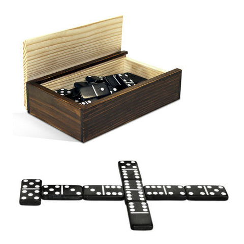 Double Six Black Dominoes w/White Dots in Wooden Case