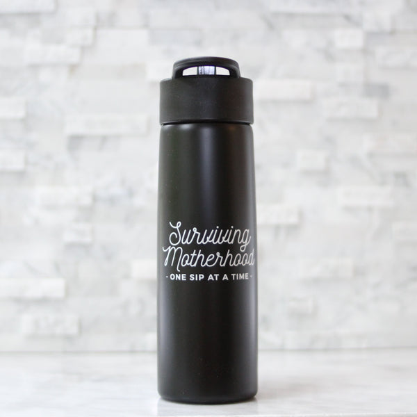 CLOSEOUT [final sale] Surviving Motherhood Water Bottle - Matte Black