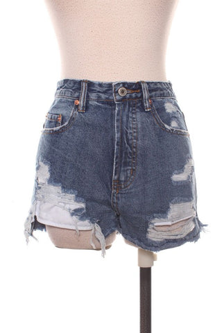 Geometric Embroidered Denim Shorts