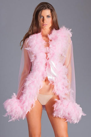 Lady Love Sheer Short Length Robe With Chandelle Boa Feather Trim