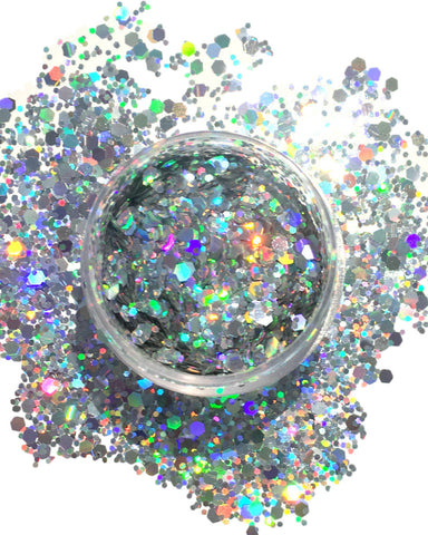 Silver Chunk Body and Face Festival Glitter (Large 15 Grams) -  rave wear, rave outfits, edc, booty shorts
