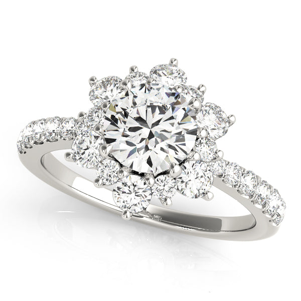 Diamond Flower Design Halo Engagement Mounting